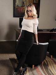 Glamorous babe with big tits and creamy nipples Nicole Aniston remains in black stockings