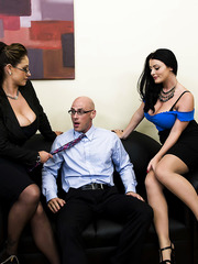 Two milfs with really delicious melons Eva Notty and Sophie Dee seduced their boss