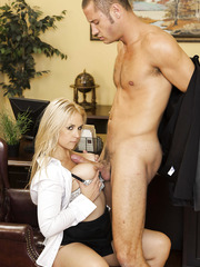 Busty secretary Sarah Vandella meets her boss' hot son and gets fucked in the office