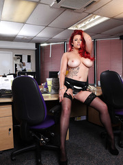Hardcore redhead milf Paige Delight takes off her clothes without any doubt