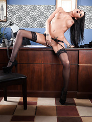 Sumptuous, model-quality milf Raven Bay looks amazing in gorgeous stockings