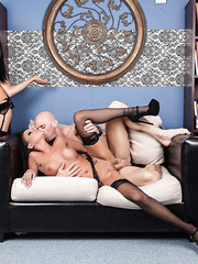 Two dream-brunettes Audrey Bitoni and Raven Bay fucked amazingly by a big cock