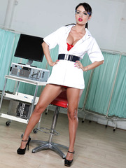 First-class doctor Franceska Jaimes stips hot in the laboratory presenting her amazing big titsW