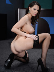 Sexy dark-haired secretary with beautiful skin and huge tits Jennifer Dark spreading her treasures