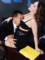 Hot secretary Jennifer Dark present her chief's Asian best friend real interracial action