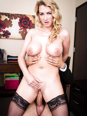 Pale skinned blonde milf with big tits Blake Rose fucks with her young boyfriend