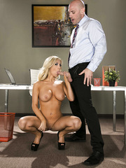 Glamorous secretary Tasha Reign knows how to turn on her boss' big cock