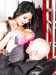 Brunette milf with hot brown eyes, big tits and hot ass Missy Martinez takes part of the action