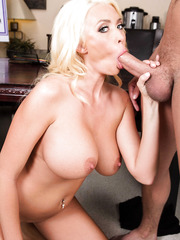 Astounding blonde Summer Brielle is not against of his big cock in her always wet shaved pussy