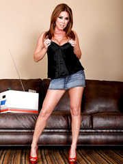 Busty and passionate brunette milf Kianna Dior undresses her hot skirt