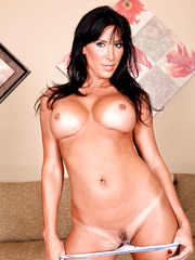 Sexy brunette Lezley Zen shows her nasty holes without lingerie