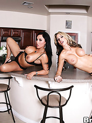 Sexy lesbian chicks Mariah Milano and Sarah Jessie undresses their hot panties