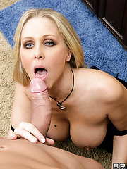 Beautiful and elegant blonde Julia Ann takes a dick in the wet mouth