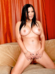 Horny brunette bitch Sophia Lomeli plays with her big tits and masturbates