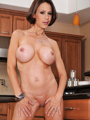 Horny mommy McKenzie Lee undresses her clothes and masturbates with the fingers