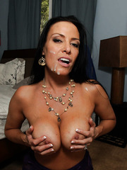 Busty brunette girl Vanilla Deville gets a cock in the sweet shaved pussy