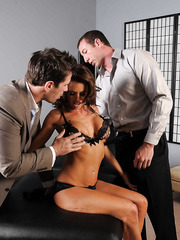 Hardcore threesome with a passionate brunette bitch named Veronica Avluv