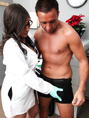 Crazy hot doctor with big tits Alexis Breeze uses her unforgettable methods of treatment