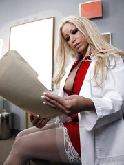 Gorgeous blonde doctor with huge boobs Gina Lynn dressed in sexy uniform seduces lucky man