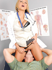 Hot doctor Briana Blair examinates big cock with her delicious wet pussy and gentle mouth
