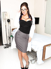 Exciting brunette doctor Mason Moore was hiding giant tits and hot tattooed body under her uniform