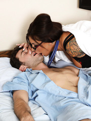 Tattooed and super buxom milf Mason Moore helps her patient to recover