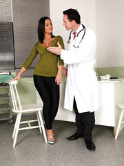 Angelika Black was dreaming about hot action and her pussy became wet while she was waiting a doctor