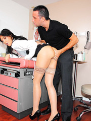 Great doctor with beautiful eyes and hot black hair Diana Prince treats a man with sweet melons