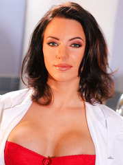 Incredibly hot bombshell Juelz Ventura takes off her uniform and fantastic red lingerie