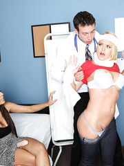 Two sweeties with big tits Krissy Lynn and Yurizan Beltran came to visit their doctor's big cock