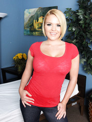 Short haired blonde milf Krissy Lynn demonstrates her appetizing, dulcet melons