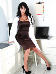 Smoking hot, irresistable and fascinating brunette bombshell Angelina Valentine takes off doctor's uniform