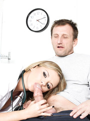 Delicious blonde doctor Bree Olson enjoys getting huge dicks in her tight asshole