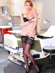 Astonishing Monique Alexander takes off her doctor's uniform and peels off sexy lingerie