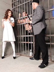 Sexy doctor Roberta Gemma was invited to check out prisoner's health with hot anal fuck
