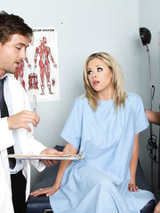 Busty and gorgeous patient Katie Kox looks modest but seduces doctor like a whore