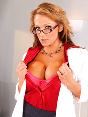 Sexy milf Nikki Sexx looks amazing in nylon stockings and hot glasses with naked giant tits