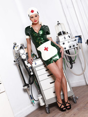 Hardcore milf with big boobs and hot ass Abbie Cat poses in her wild doctor uniform