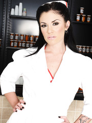 Brunette pharmacist Andy San Dimas offers her tiny natural tits and beautiful slender body