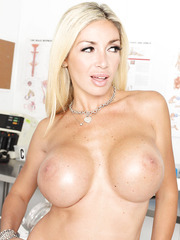Blonde milf Evita Pozzi is a head-physician and she loves to surprise with her big tits and sweet ass
