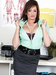 Appetizing milf with huge breast Tory Lane is happy to take off her doctor uniform