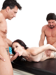 Experienced and slender milf Hailey Young gets double penetrated by two doctors