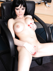 Fair skinned brunette milf with big round boobs Anastasia Brill plays with her treasures