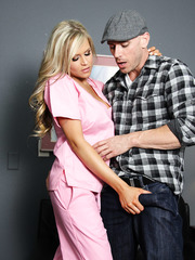 Glamorous and busty blonde milf Darcy Tyler helps him to get cum in the sperm bank