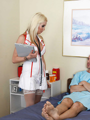Fantastic blonde milf Eden Adams came to visit her patient in ultra-sexy and provocative uniform