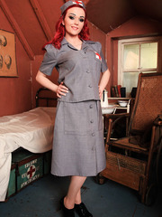 Redhead war nurse Jasmine James is happy to amaze with her exciting big tits and flawless pussy