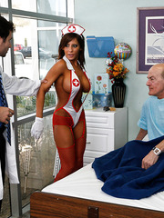Madison Ivy is a super busty nurse with sexy tanned body that loves hardcore actions