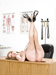 Milf with fantastic big boobs and perfect round ass Amy Brooke poses in her office