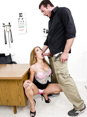 Super busty doctor Amy Brooke gets fucked on her work table by a patient with big cock