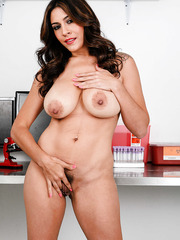 Appetizing milf Raylene plays with her huge breast and hairy pussy